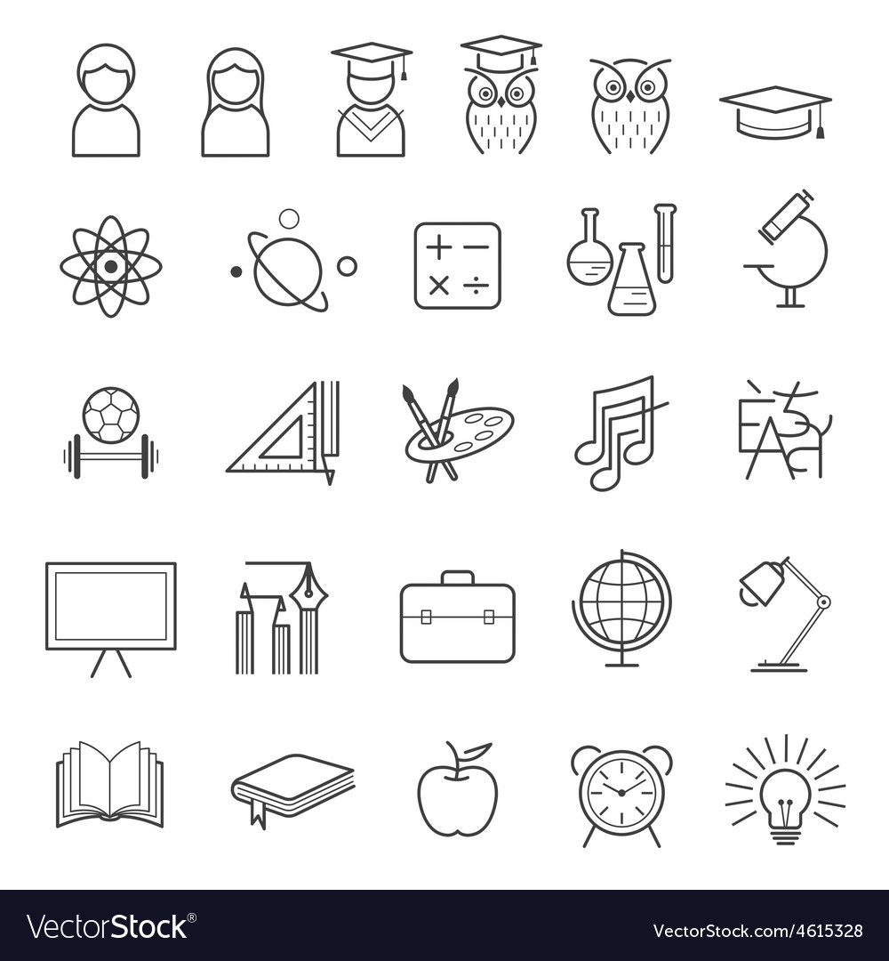 Education line icons set vector   Price: 1 Credit (USD $1)