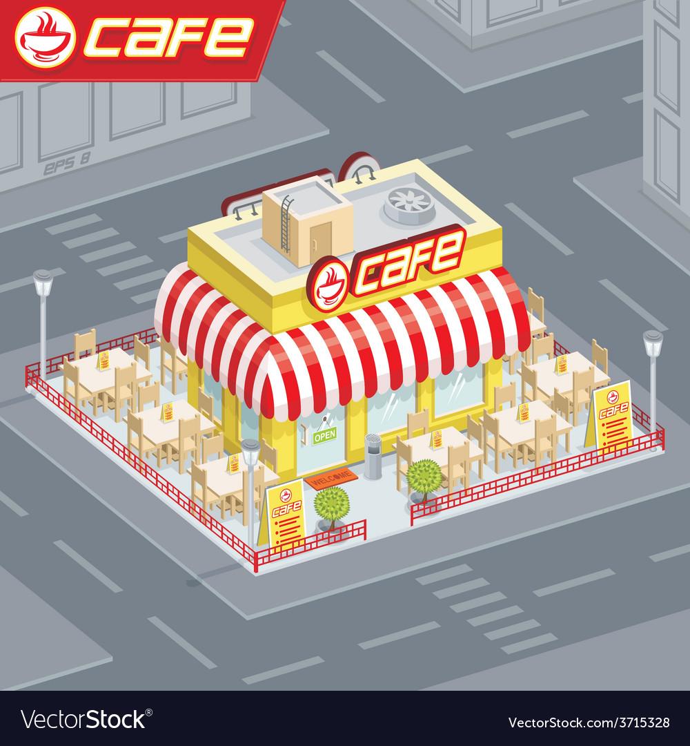 Facade cafe vector | Price: 1 Credit (USD $1)