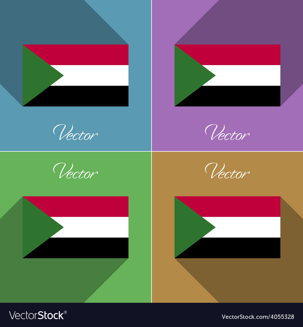 Flags sudan set of colors flat design and long vector | Price: 1 Credit (USD $1)
