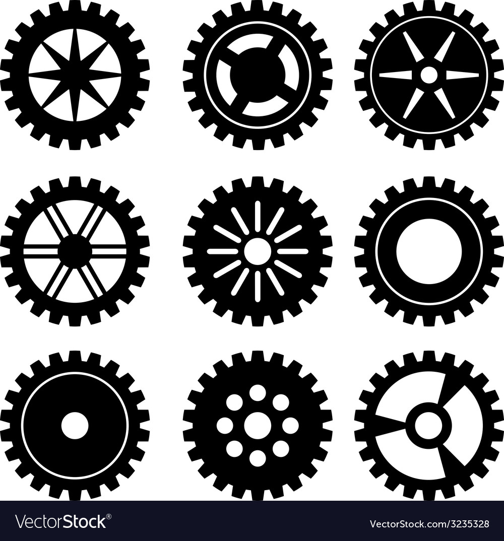Gears silhouette set vector | Price: 1 Credit (USD $1)