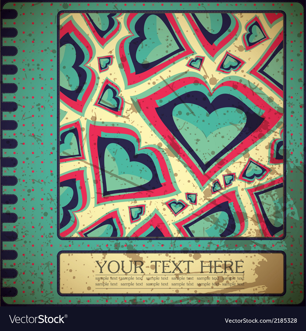 Grunge card with hearts vector | Price: 1 Credit (USD $1)
