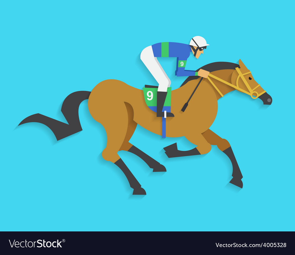 Jockey riding race horse number 9 vector | Price: 1 Credit (USD $1)