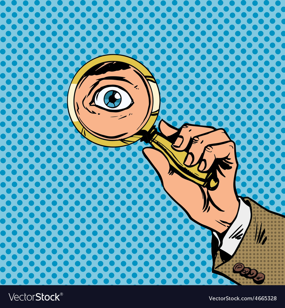 Look through a magnifying glass searching eyes pop vector | Price: 1 Credit (USD $1)