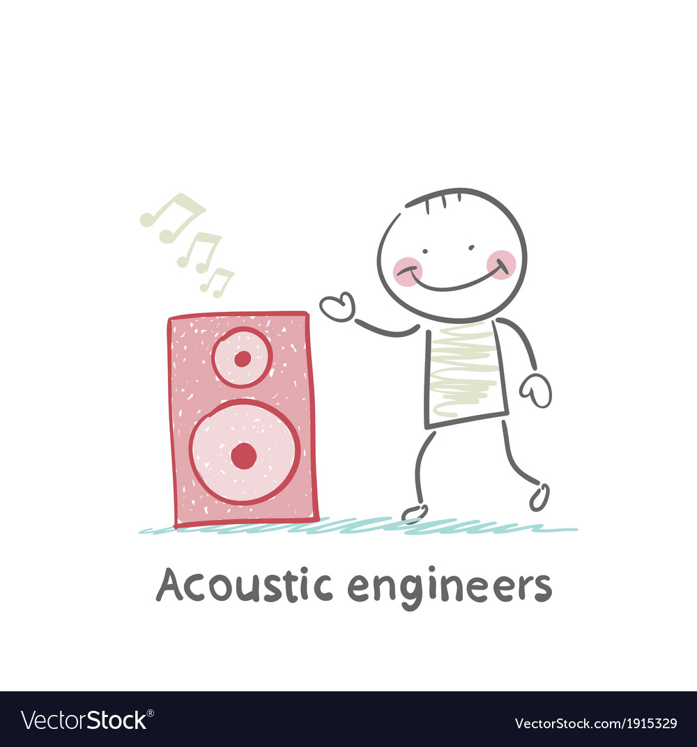 Acoustic engineer with column vector | Price: 1 Credit (USD $1)