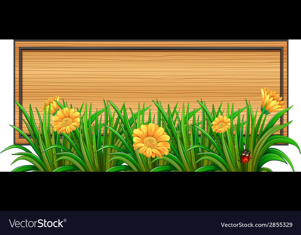 An empty signboard at the back of the plants vector | Price: 1 Credit (USD $1)