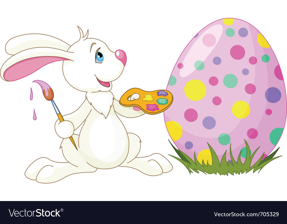Easter bunny painting an egg vector | Price: 1 Credit (USD $1)