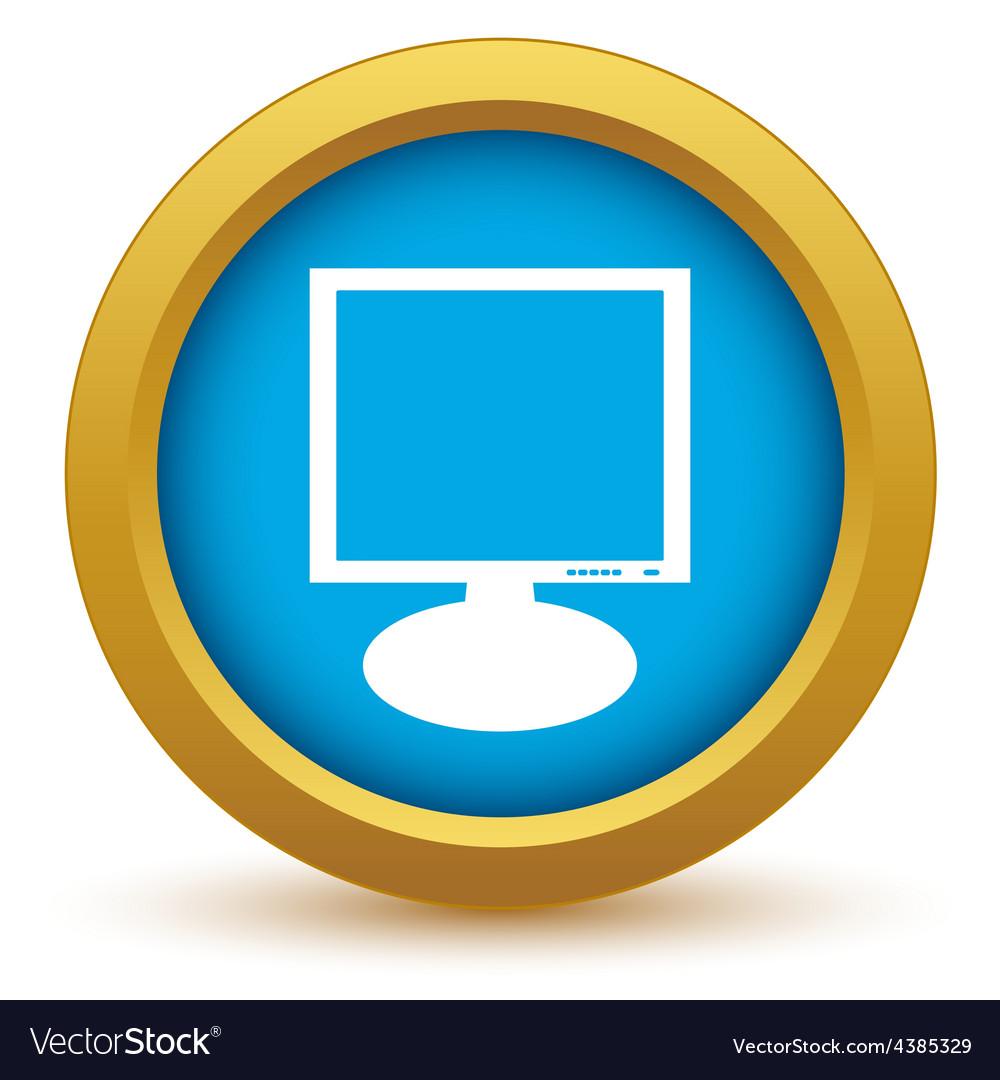 Gold monitor icon vector | Price: 1 Credit (USD $1)