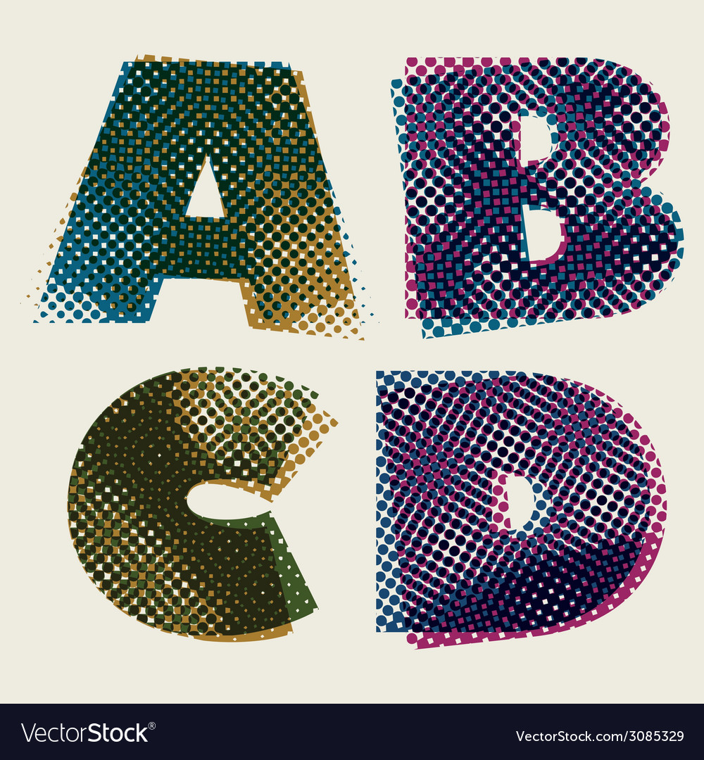 Halftone dots font dirty grunge color pixels print vector | Price: 1 Credit (USD $1)