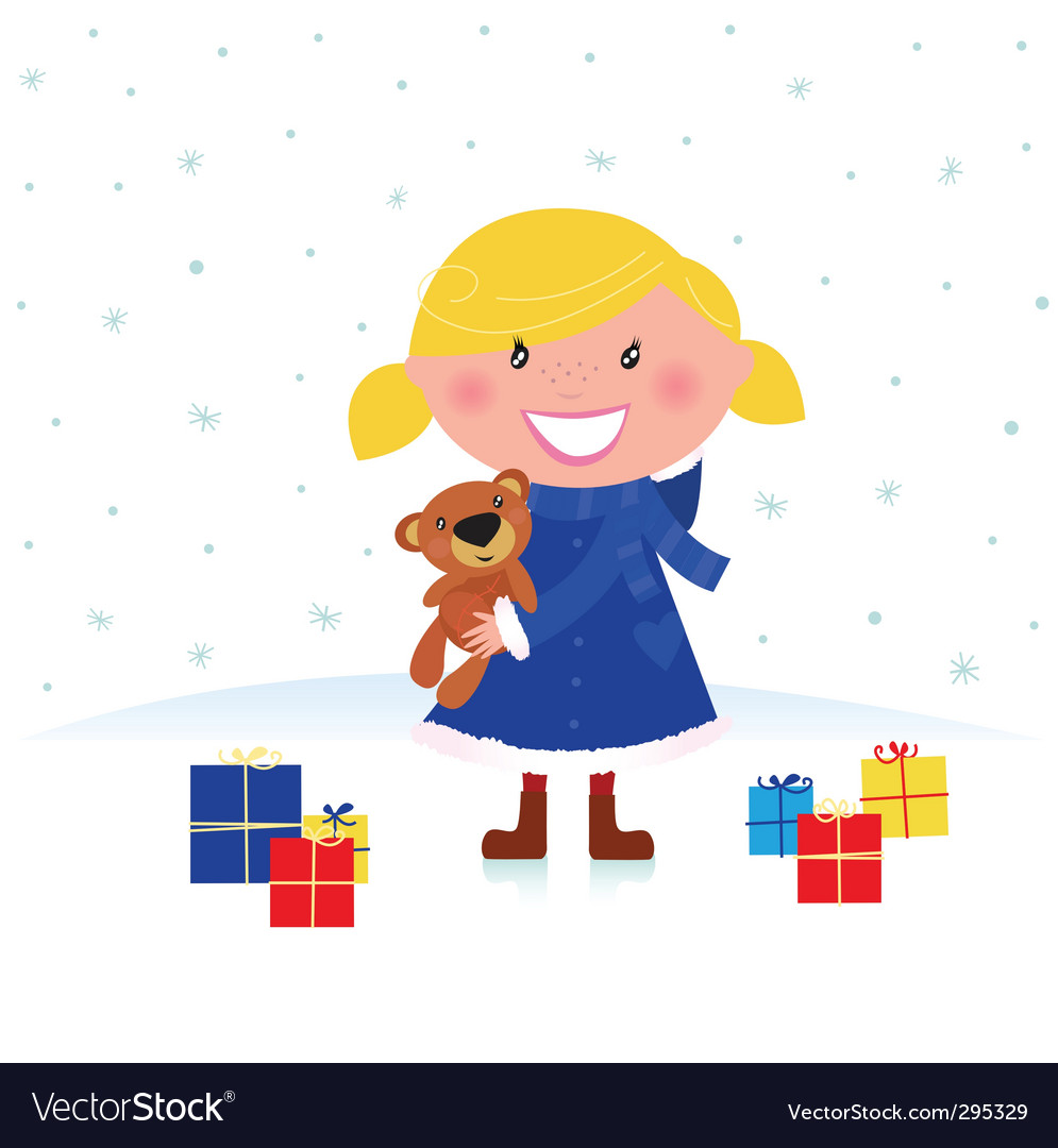 Happy christmas girl and gifts vector | Price: 1 Credit (USD $1)