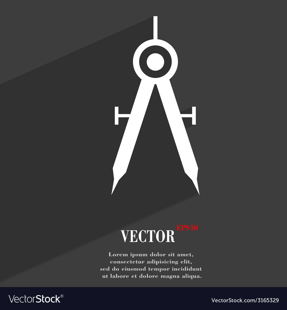 Mathematical compass icon symbol flat modern web vector | Price: 1 Credit (USD $1)