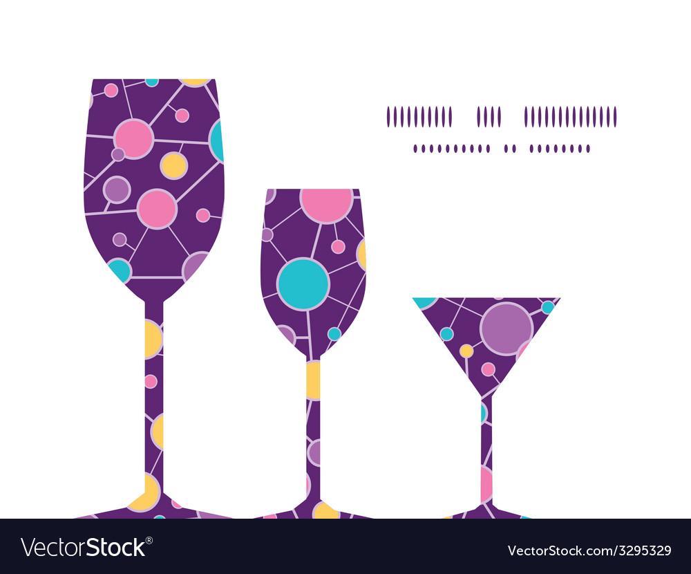 Molecular structure three wine glasses silhouettes vector | Price: 1 Credit (USD $1)