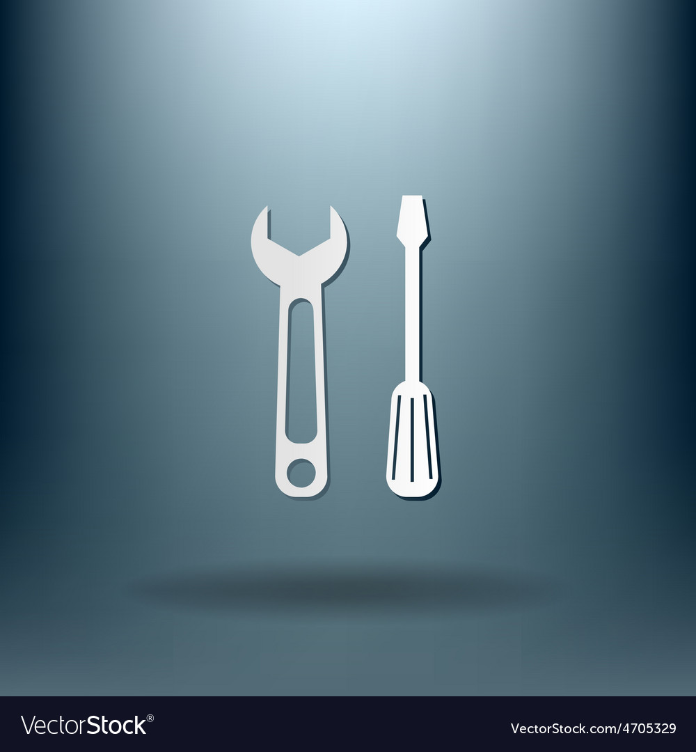 Screwdriver and wrench symbol settings sign vector   Price: 1 Credit (USD $1)