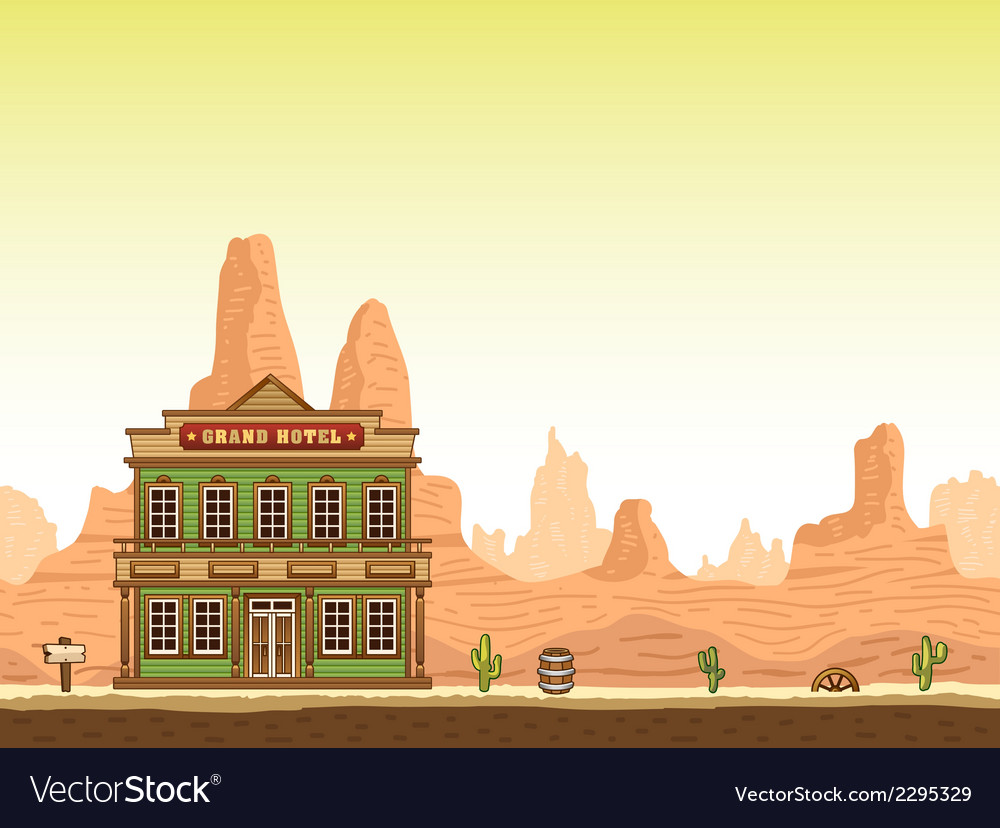 Wild old west canyon background with hottel vector | Price: 1 Credit (USD $1)