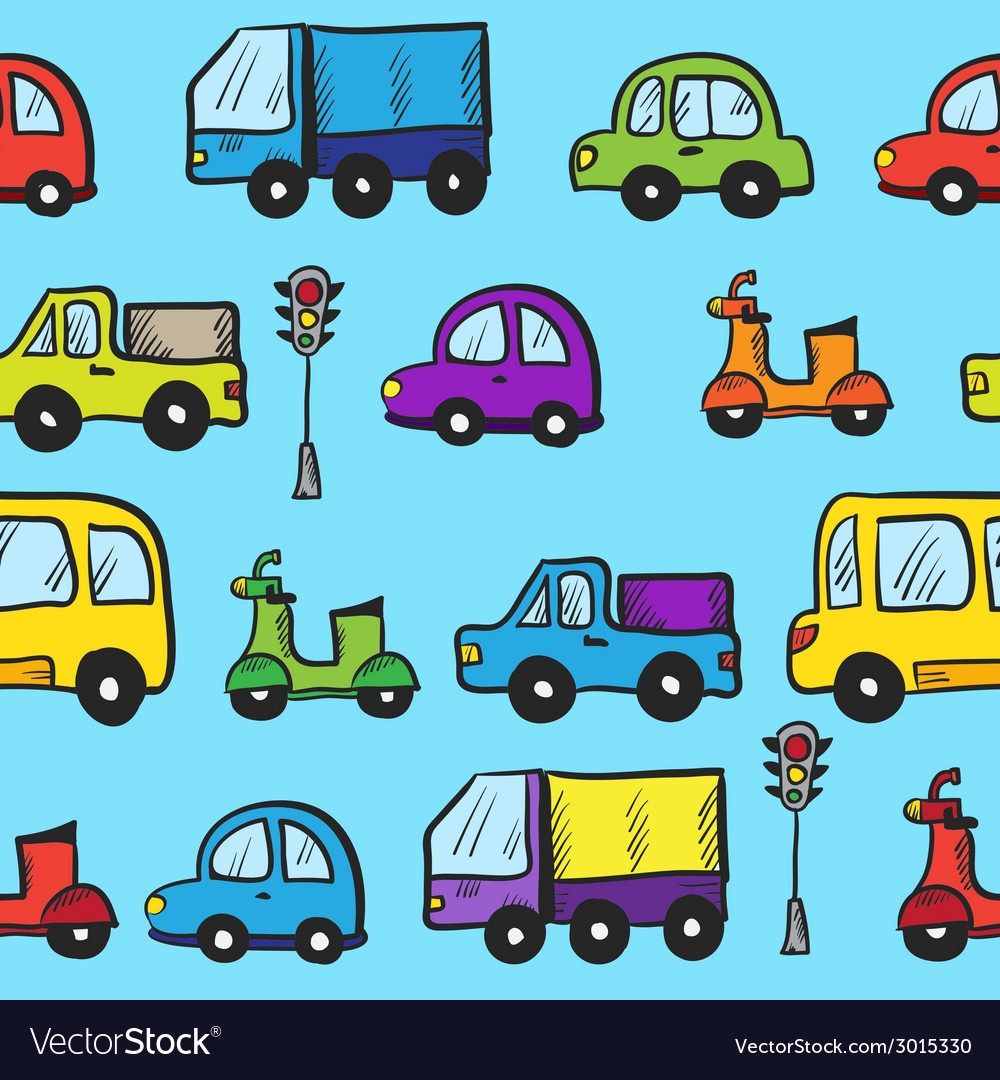 Colorful hand drawn doodle cartoon cars seamless vector | Price: 1 Credit (USD $1)