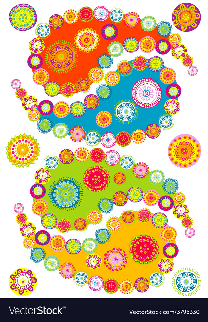 Colorful paisley elements vector | Price: 1 Credit (USD $1)