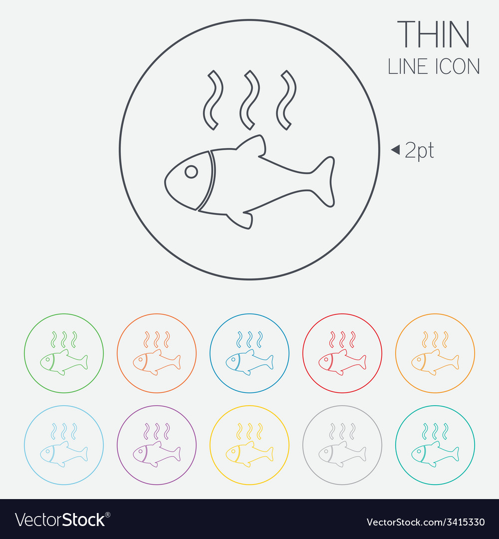 Fish hot sign icon cook or fry fish symbol vector | Price: 1 Credit (USD $1)