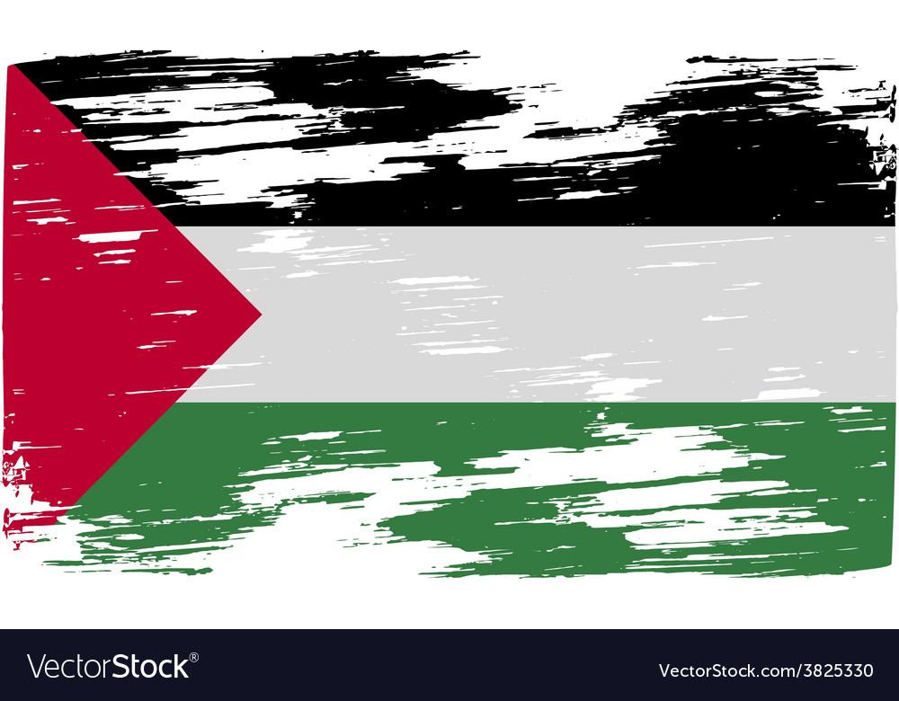 Flag of palestine with old texture vector | Price: 1 Credit (USD $1)