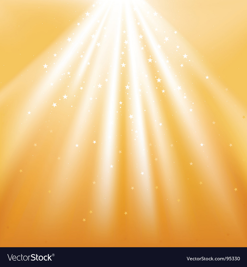 Golden light rays with stars vector | Price: 1 Credit (USD $1)