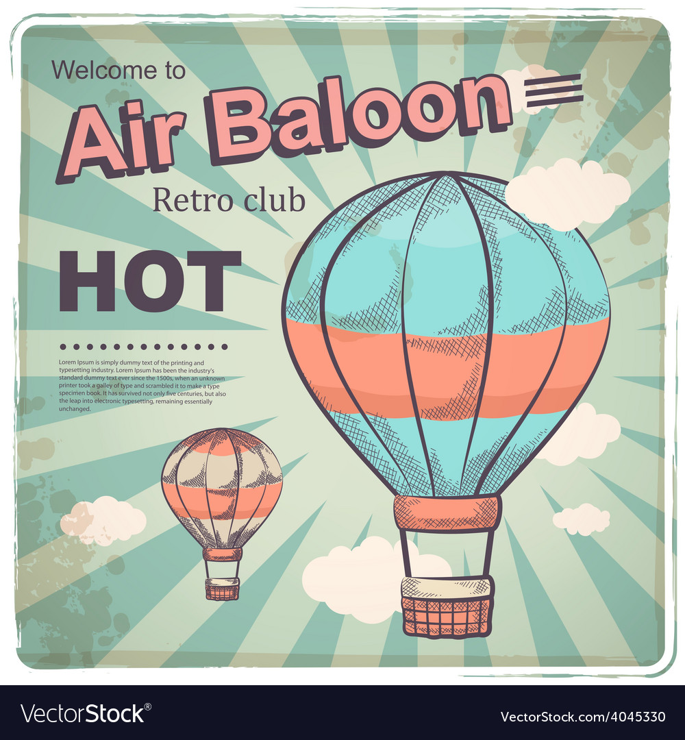 Hot air baloon retro poster vector | Price: 1 Credit (USD $1)
