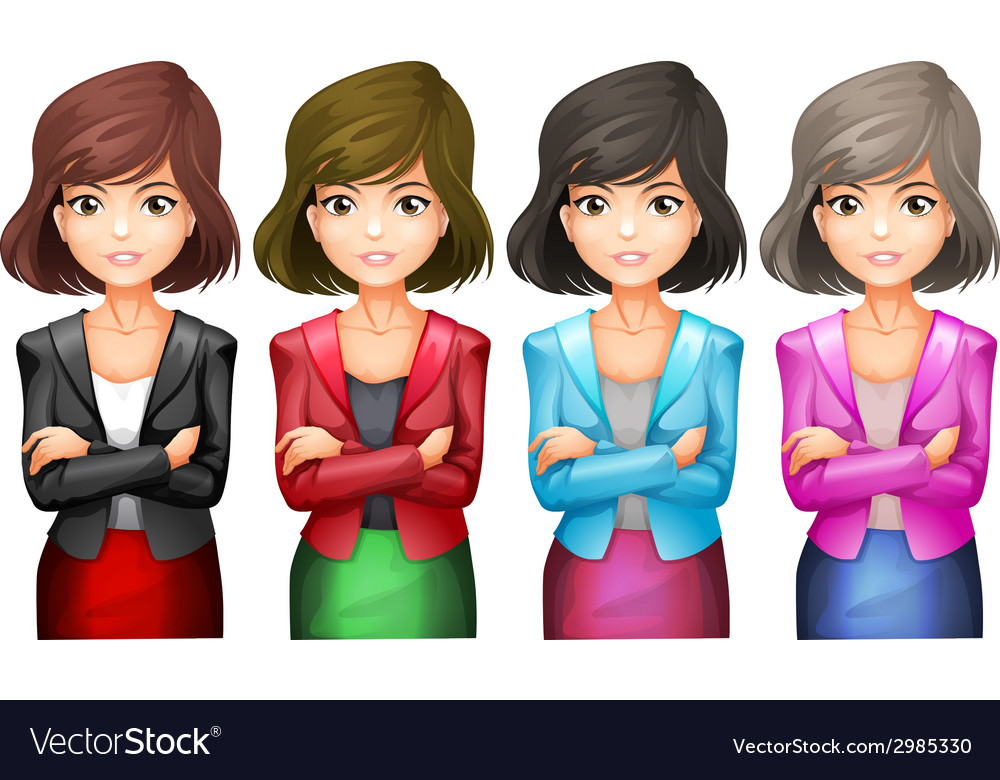Office girls in different uniforms vector | Price: 1 Credit (USD $1)