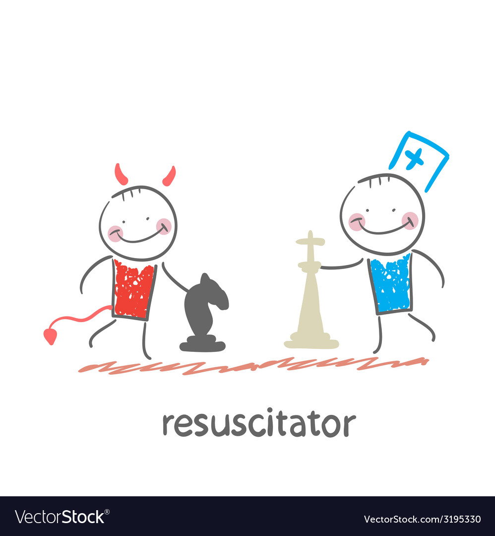 Resuscitator plays chess with the devil vector | Price: 1 Credit (USD $1)