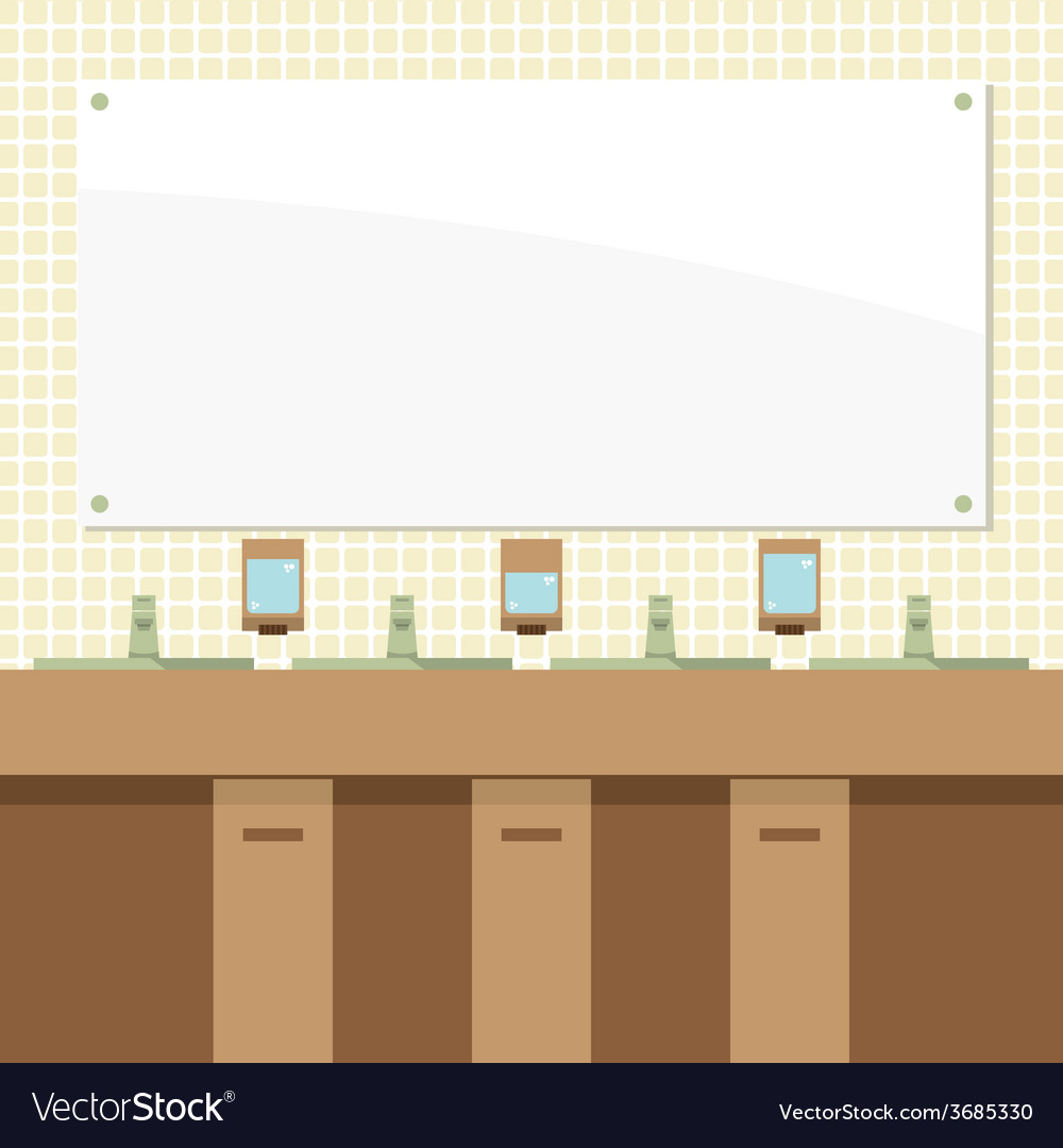 Row of lavatories with mirrors vector | Price: 1 Credit (USD $1)