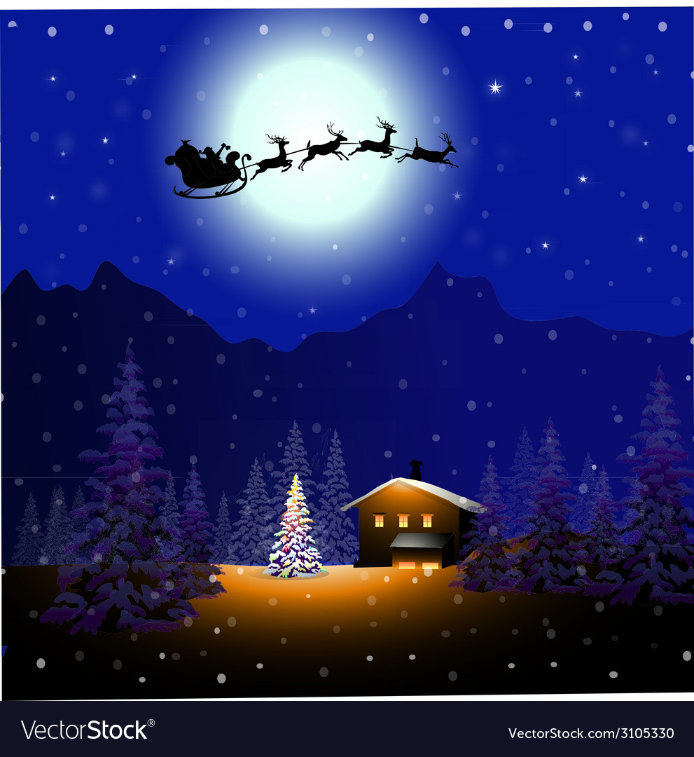 Santa sleigh in christmas night- vector | Price: 3 Credit (USD $3)