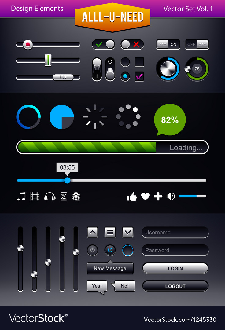 Set of user interface elements vector | Price: 3 Credit (USD $3)
