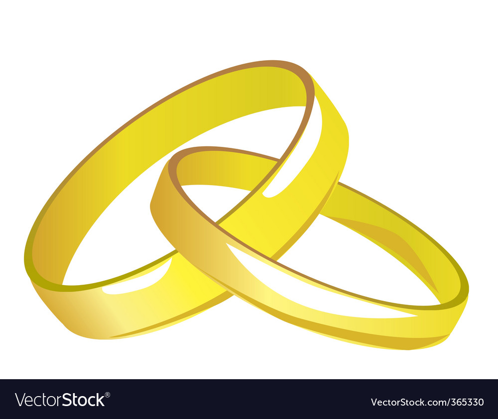 Two gold wedding rings vector | Price: 1 Credit (USD $1)