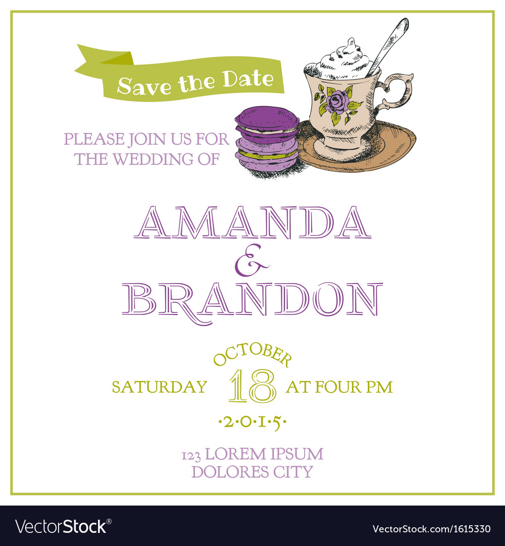 Wedding vintage invitation card - macaroon and tea vector | Price: 1 Credit (USD $1)