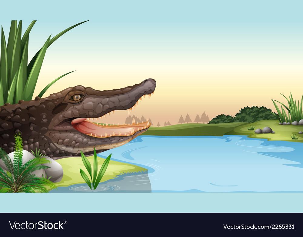 A reptile near the river vector | Price: 1 Credit (USD $1)