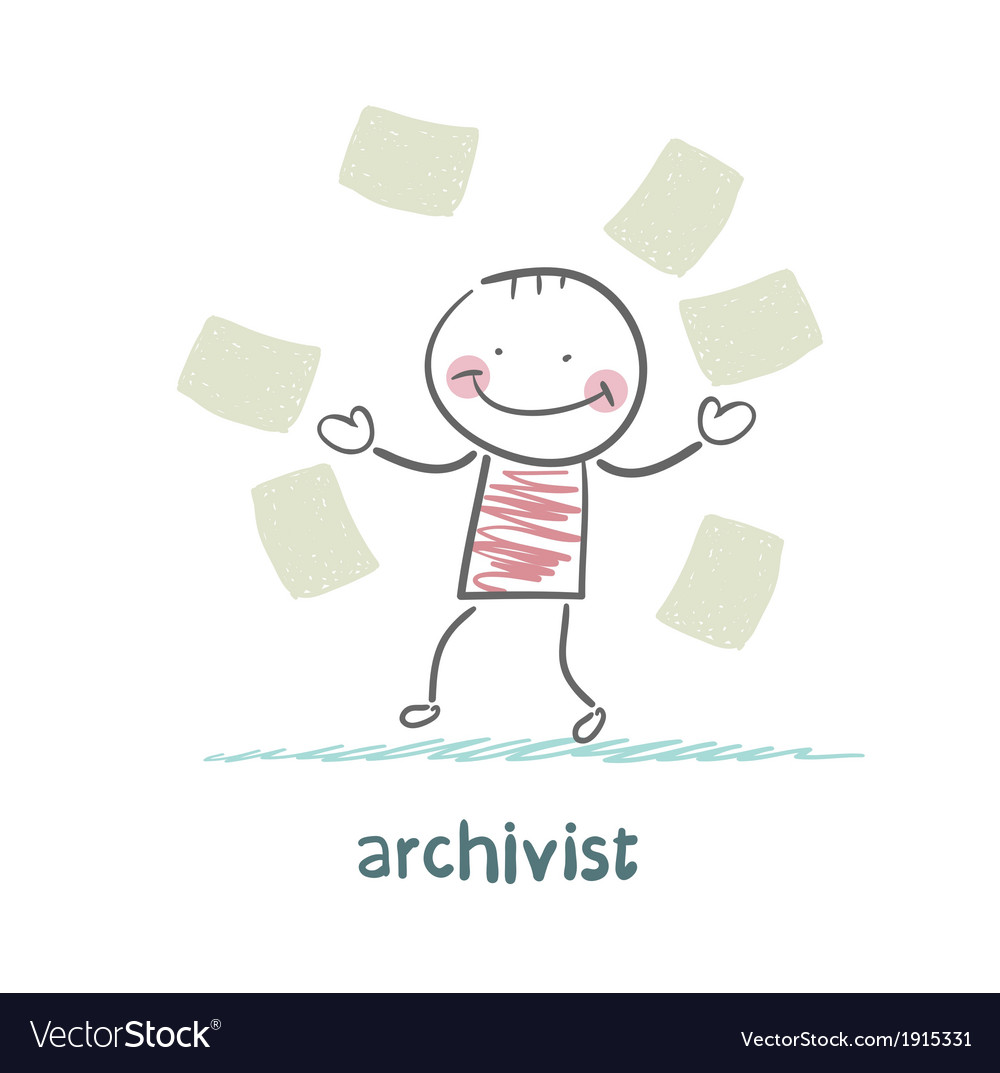 Archivist of paper flying around vector | Price: 1 Credit (USD $1)