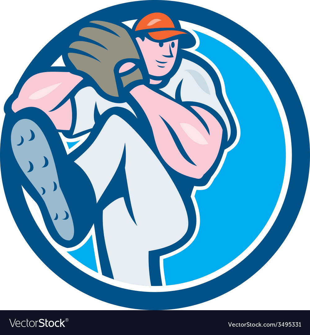 Baseball pitcher outfielder leg up circle cartoon vector | Price: 1 Credit (USD $1)