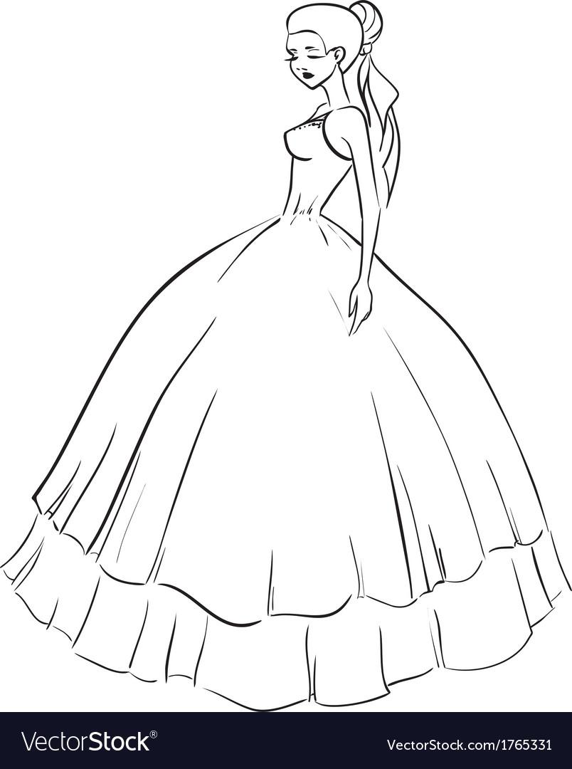 Beautiful bride in wedding dress vector   Price: 1 Credit (USD $1)