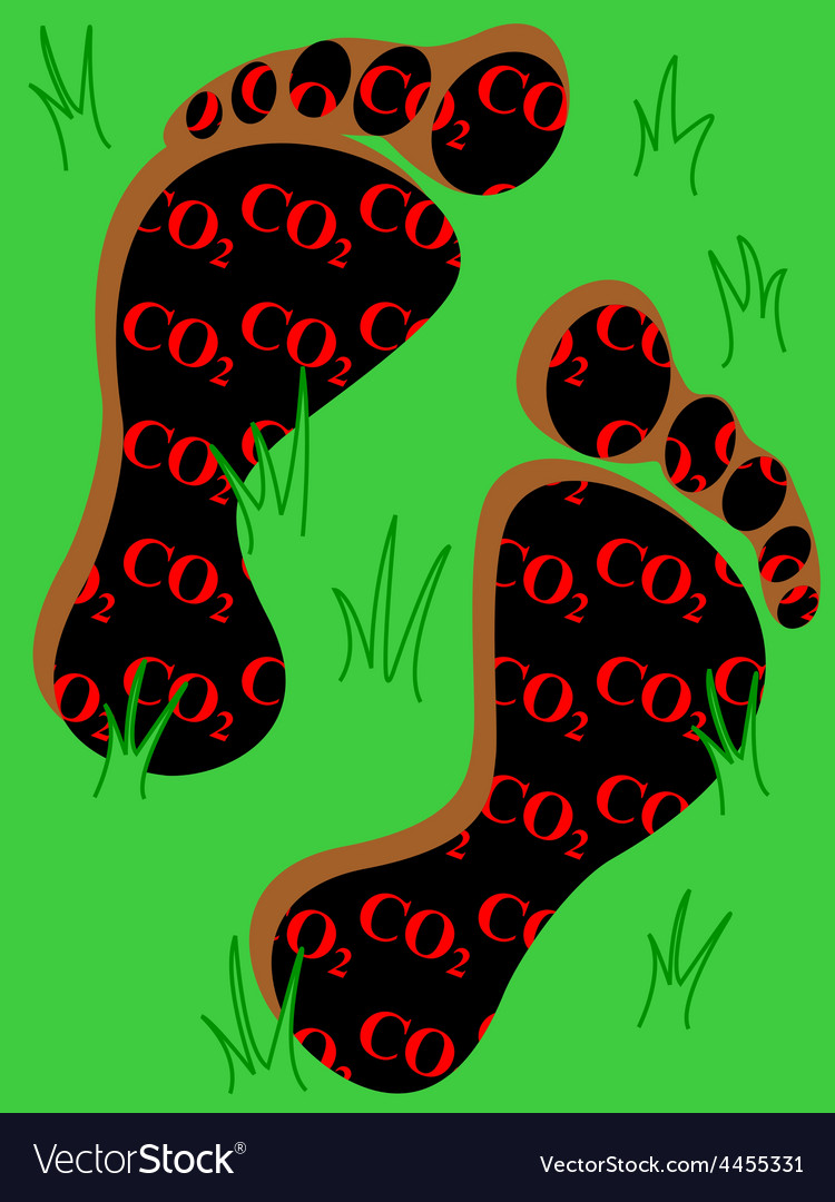 Carbon footprint on grass vector | Price: 1 Credit (USD $1)