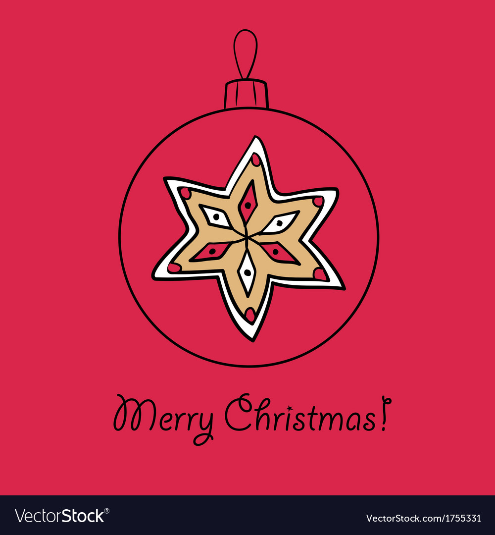 Christmas ball with star vector   Price: 1 Credit (USD $1)