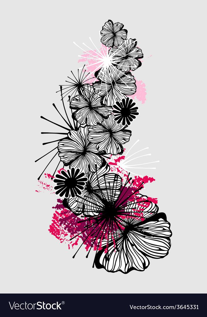 Doodle flower ink pattern vector | Price: 1 Credit (USD $1)