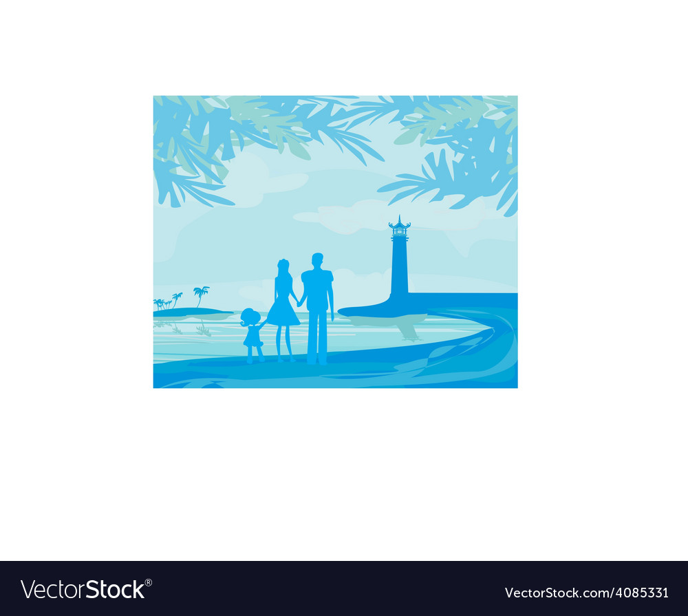 Family on tropical vacation vector | Price: 1 Credit (USD $1)
