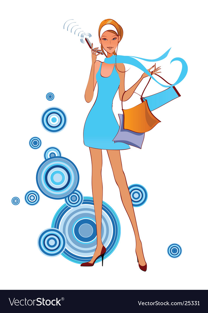 Fashion women on the phone vector | Price: 3 Credit (USD $3)