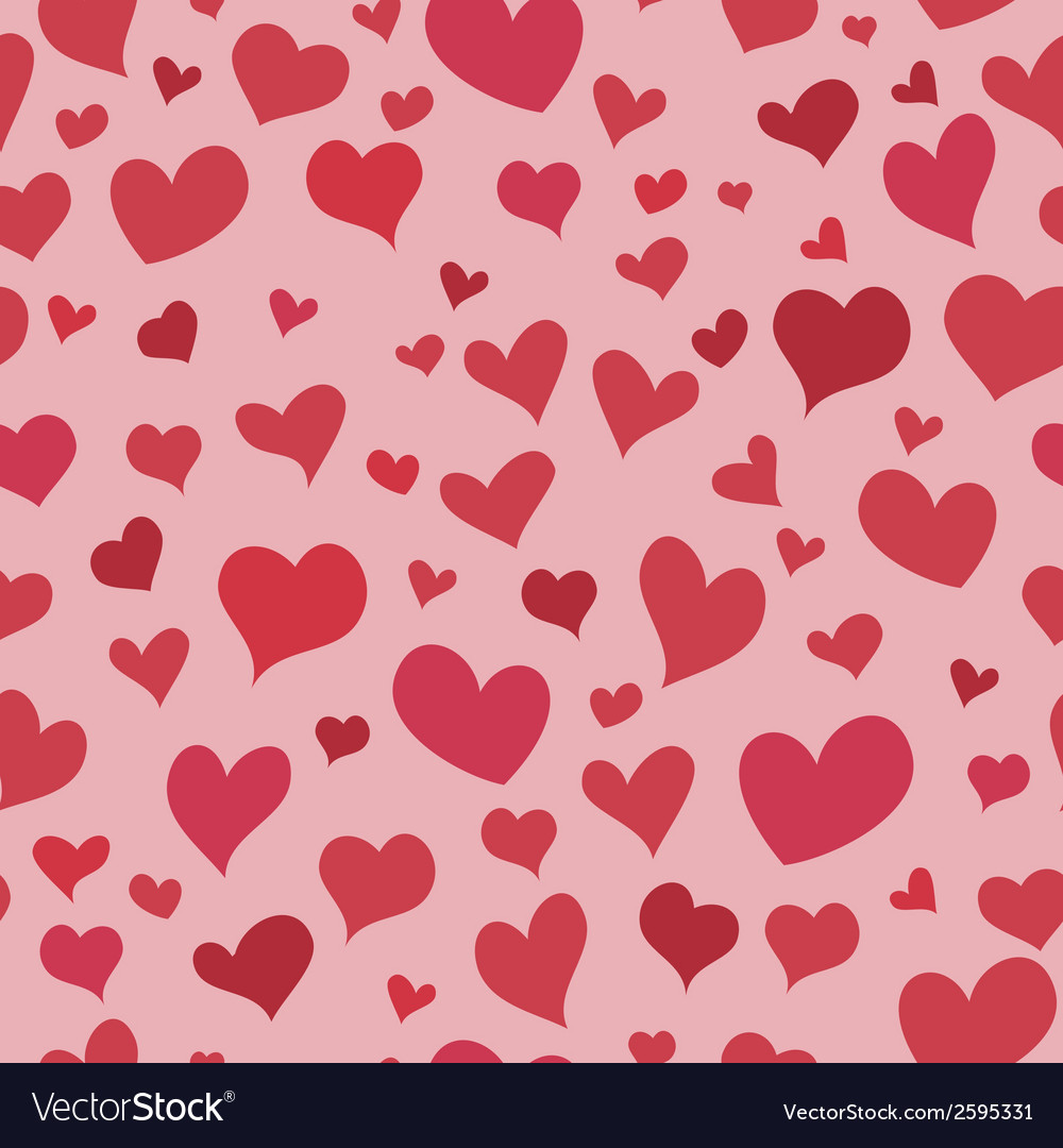 Love red heart seamless background bright pattern vector | Price: 1 Credit (USD $1)