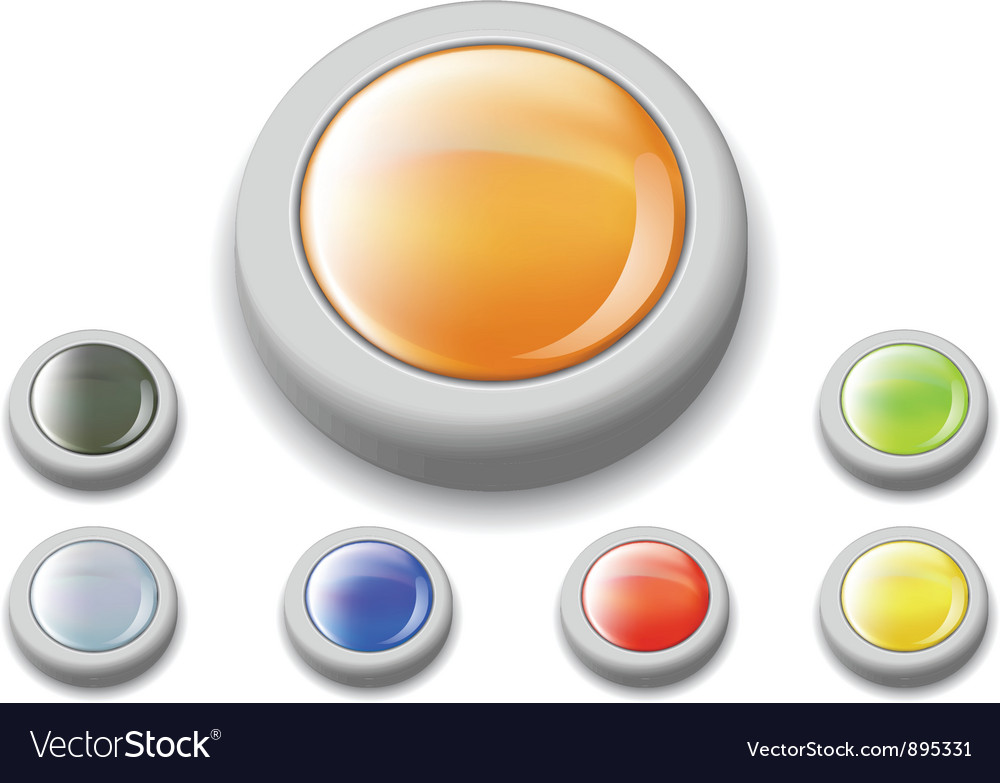 Shiny web buttons set vector | Price: 1 Credit (USD $1)