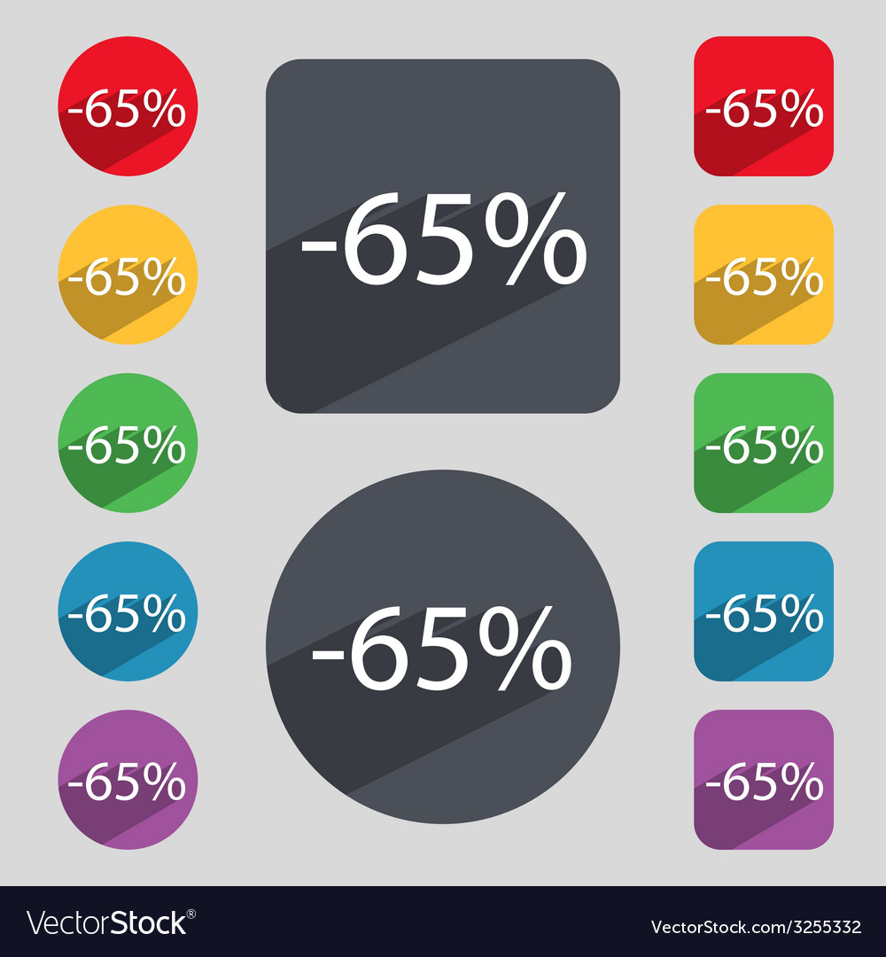 65 percent discount sign icon sale symbol special vector | Price: 1 Credit (USD $1)