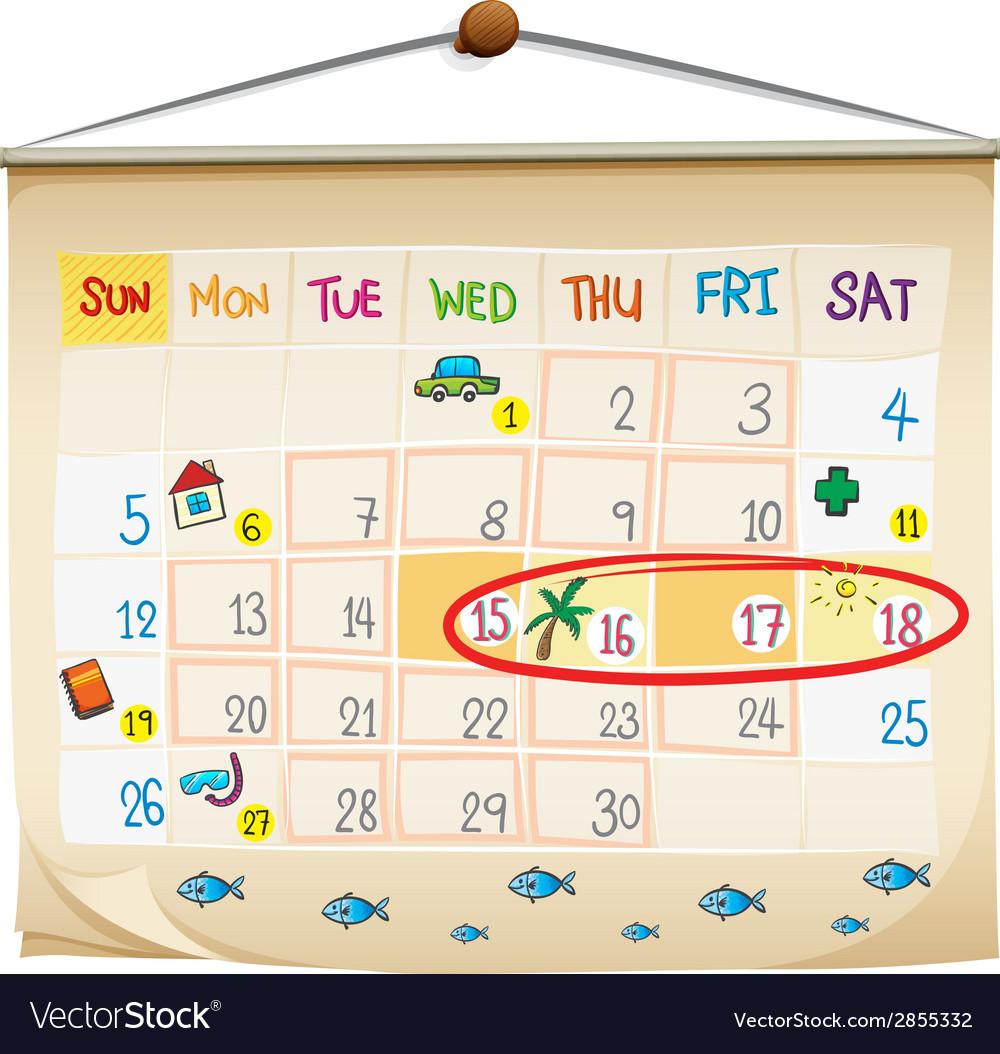A calendar vector   Price: 1 Credit (USD $1)