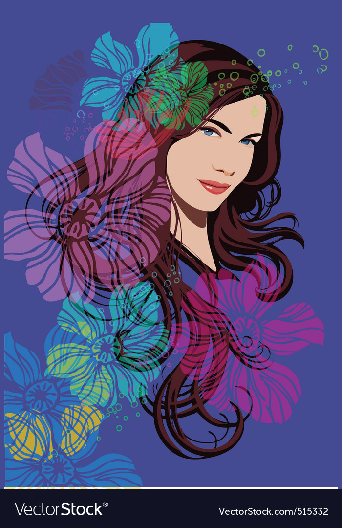 Beautiful girl and flowers vector | Price: 3 Credit (USD $3)
