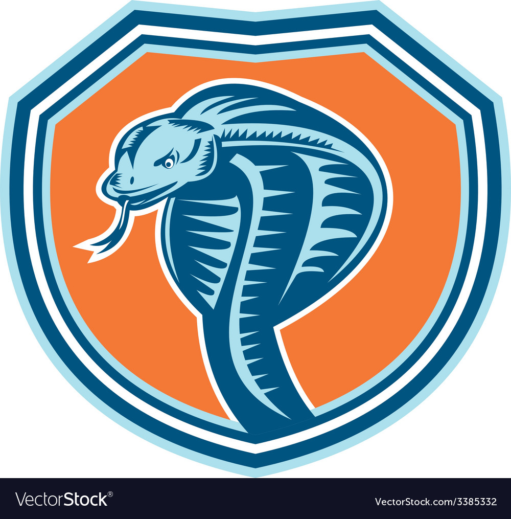 Cobra viper snake head shield retro vector | Price: 1 Credit (USD $1)