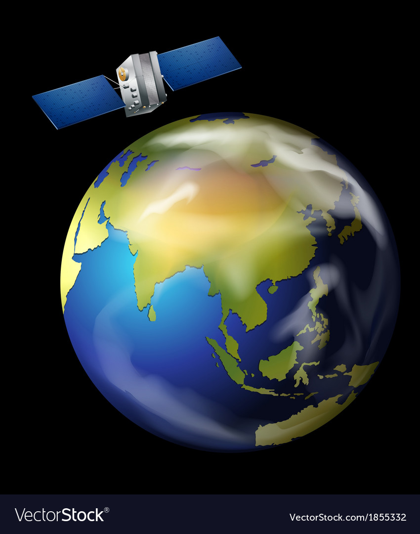Satellite orbiting earth vector | Price: 1 Credit (USD $1)