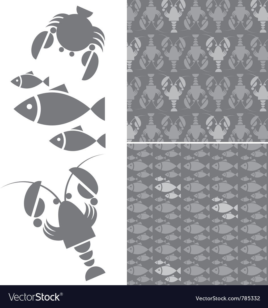 Seafood pattern vector | Price: 1 Credit (USD $1)