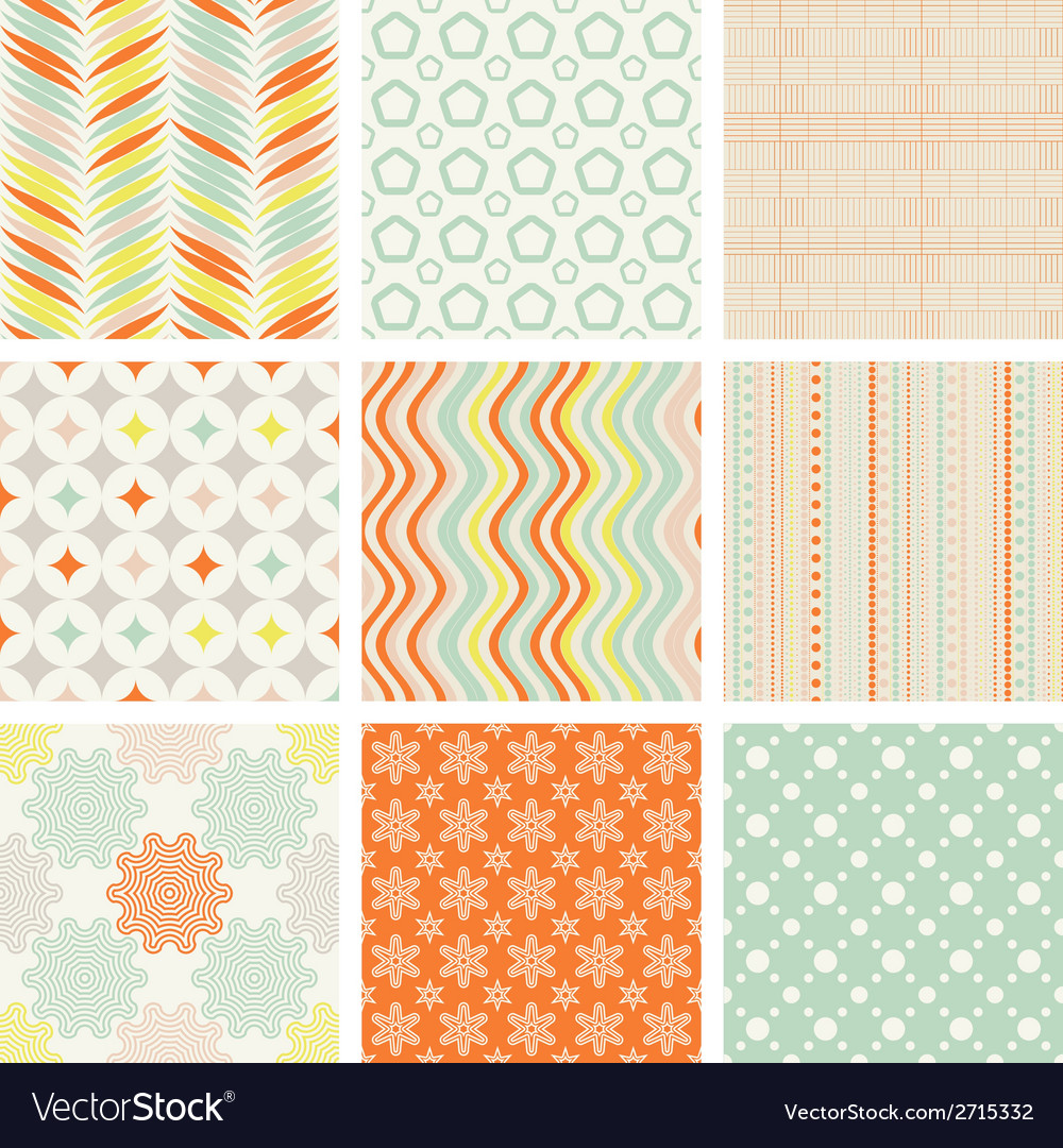 Seamless retro patterns collection vector   Price: 1 Credit (USD $1)