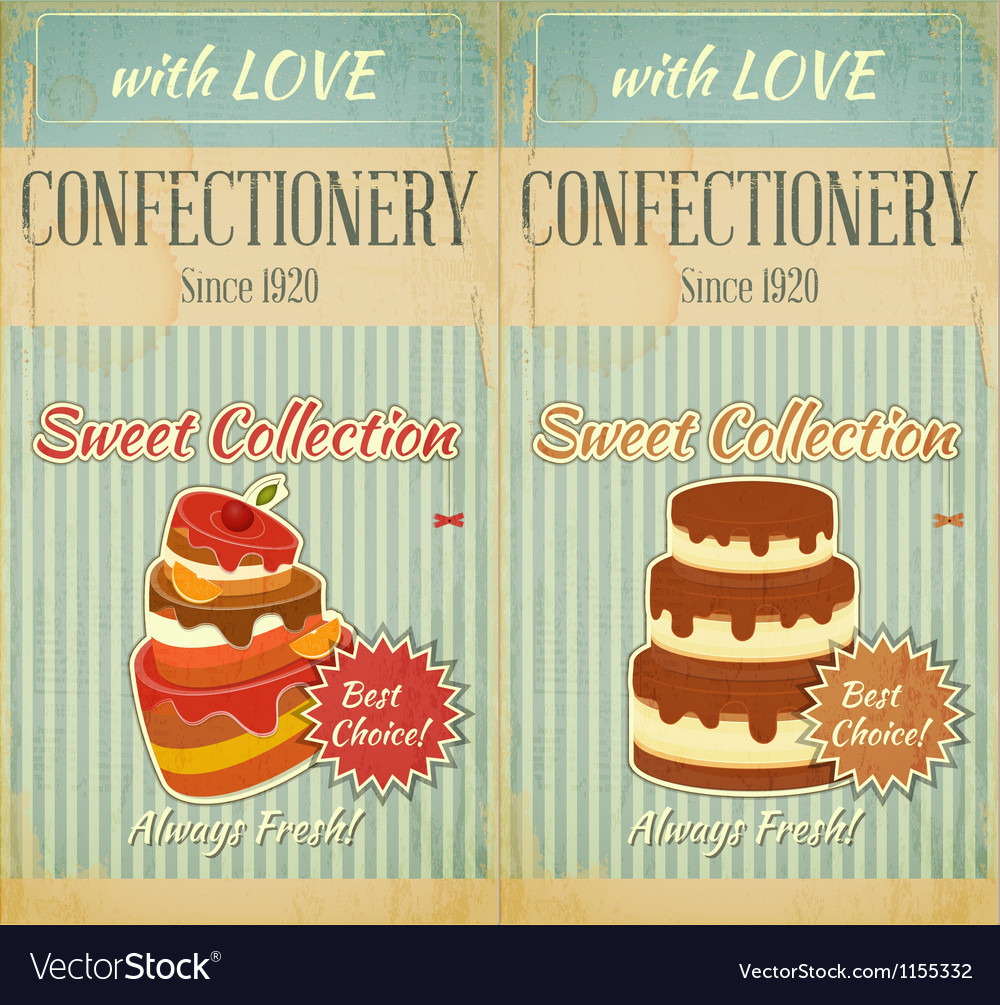 Set of retro menu with cake vector | Price: 1 Credit (USD $1)