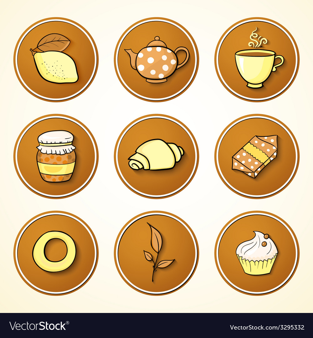 Set tea and sweets round icons vector   Price: 1 Credit (USD $1)